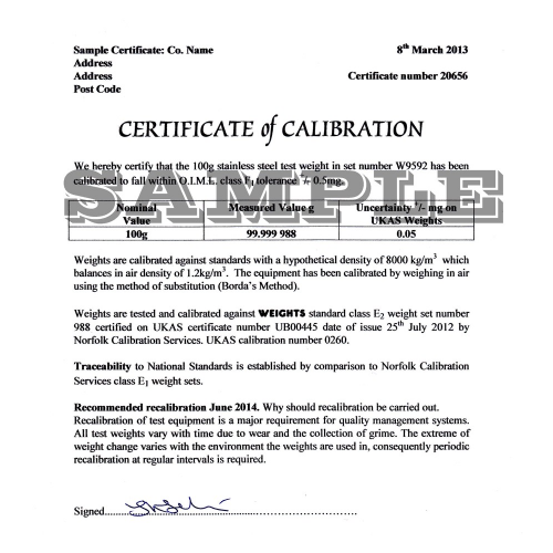 Calibration Certificate for Brecknell Scales