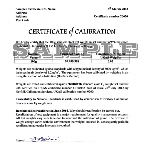 Calibration Certificate to O.I.M.L. Class M1 Up to 1kg